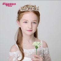 儿童皇冠头饰公主女童王冠合金发饰头箍女孩生日水钻发夹套装发箍