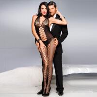 欧美大码连体丝袜性感透明提花狂野女式开档吊带情趣内衣网衣 黑色