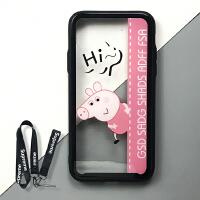 小猪佩奇钢化玻璃苹果x手机壳iphone8plus保护壳7硅胶边框6sp边框 iPhoneX hi~佩琪