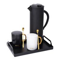 北欧ins马克杯家用保温壶简约杯具套装茶杯带托盘杯子陶瓷咖啡壶