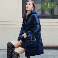 芊艺中长款羽绒女2018冬季新款韩版显瘦加厚面包服时尚棉衣外套潮
