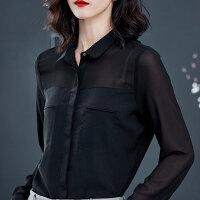 黑色雪纺衬衫女长袖气质2019春装新款女装上衣时尚简约显瘦衬衣女 黑色