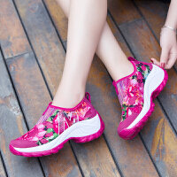 夏季新款透气摇摇鞋网面单鞋韩版运动鞋女鞋厚底增高网鞋女休闲鞋 彩色梅红 35