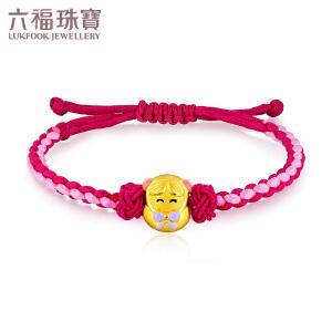 六福珠宝珐琅黄金转运珠YUN运甜甜小孩串珠手绳定价L01A1TBB0006