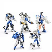 玩具变形金刚合体五合一 儿童男孩合金变形玩具金刚合体模型汽车机器人摩托警车五合一