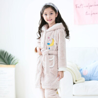 女童睡衣冬珊瑚绒女孩中长款套装秋冬中大童儿童法兰绒家居服