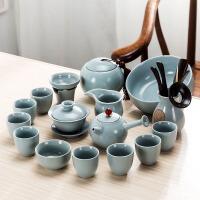 2018新品 整套汝窑功夫茶具套装家用杯子6只装汝瓷开片简约泡茶壶茶杯盖碗