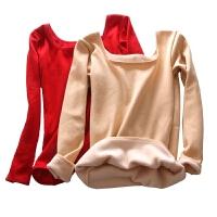 低领保暖衣内衣女士加绒加厚冬季紧身长袖美体打底衫秋衣单件上衣