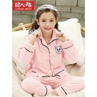 秋冬季儿童睡衣长袖加厚法兰绒珊瑚绒宝宝家居服套装女孩