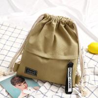 韩版新款帆布包抽绳束口学生书包女双肩包休闲简约百搭旅行背包包