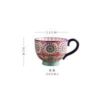 欧式复古陶瓷办公室咖啡杯家用大肚杯燕麦杯早餐杯马克杯子 圈圈点点咖啡杯