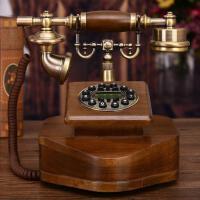 实木时尚创意电话机座机高档欧式仿古复古电话机家用实木美式电话