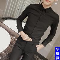 男士衬衫长袖韩版修身衬衣夜场商务休闲潮流发型师寸衫