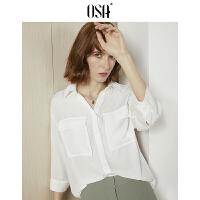 【过年3折价:118.3】OSA欧莎2019夏装新款女装 简约小翻领工装口袋七分袖衬衫 白色
