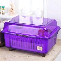 碗筷收纳盒欧式厨房塑料沥水架带盖大号家用多功能放碗碟柜置物架
