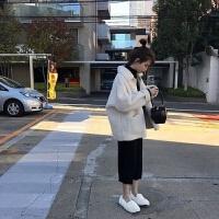 加厚加绒款冬季韩版学生宽松羊羔毛绒外套女装短棉衣棉袄