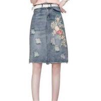 欧美女装女装高腰牛仔半身裙套装女夏2019新款港味复古气质短袖T恤两件套 XX