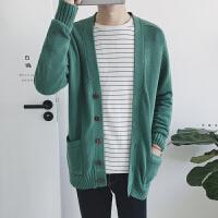 日系复古男士简约纯色V领针织开衫韩版青年春秋装宽松毛衣潮外套