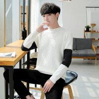 半高领毛衣男装韩版潮流秋冬季新款套头针织衫男士加厚拼接毛线衣