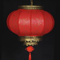 中式仿古户外防水圆形羊皮吊灯笼春节喜庆酒店茶楼阳台大红灯笼