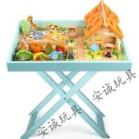 六一礼物儿童游戏桌多功能积木桌早教玩具收纳桌1-2-3岁实木沙盘桌 家庭农场系列游戏桌