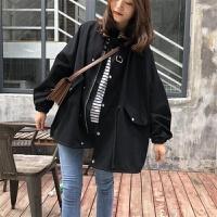 【轻恋】工装外套女2019秋冬韩版宽松bf学生立领矮个子风衣女