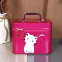化妆包大容量便携少女可爱收纳盒简约化妆箱手提收纳用品 玫红中号
