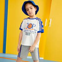 【3件2折:63.8】巴拉巴拉旗下219夏季新款男童中大童篮球印花儿童运动短袖套装B