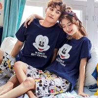2套价 情侣睡衣夏季短袖纯棉韩版可爱卡通男女士薄款家居服套装