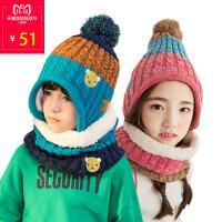 儿童帽子围巾手套三件套秋冬帽子围脖套装