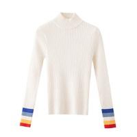 打底衫毛衣针织女装上衣学生韩版紧修身半高中领套头秋冬保暖长袖 S 70-85斤