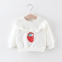 童装女童打底衫春秋婴儿童长袖花边T恤0-1-3岁宝宝春装圆领上衣女 白色 草莓花边打底衫