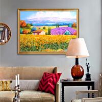 欧式田园风景装饰画餐厅沙发背景墙厚油向日葵花卉手绘油画壁画 100*200cm 单幅