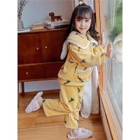 儿童睡衣秋冬季珊瑚绒加厚款法兰绒中大童套装男孩女孩家居服