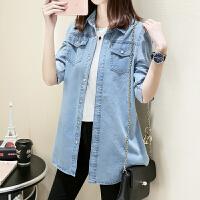 春夏新款韩版大码牛仔衬衫女长袖宽松显瘦打底中长款薄款衬衣外套