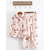 秋冬珊瑚绒睡衣女加厚保暖中老年冬季长袖妈妈法兰绒家居服套装