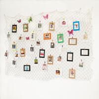 渔网照片墙 创意渔网照片墙纸相框夹子装饰地中海复古酒吧墙饰幼儿园作品挂墙