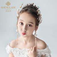 儿童皇冠头饰公主女童王冠水晶粉色头花花环套装韩式小孩生日发箍
