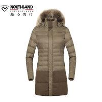 【顺心而行】诺诗兰户外女士防风加厚时尚中长款保暖鹅绒羽绒服GD962202