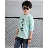 童装男童长袖T恤春夏款儿童打底衫中大童圆领 浅绿英文 110cm