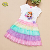 冰雪奇缘苏菲亚蛋糕裙女童公主连衣裙夏季童装儿童裙子彩虹裙艾莎 白色