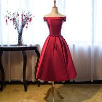 新娘敬酒服2018新款韩版一字肩婚礼结婚礼服修身订婚春夏晚礼服女 酒红色