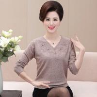 新秋冬季中老年女装羊毛衫长袖上衣宽松妈妈装秋装打底衫中年毛衣 XL (建议90-120斤)