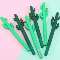 一正创意可爱软胶仙人掌中性笔 学生个性硅胶造型签字笔 水性笔