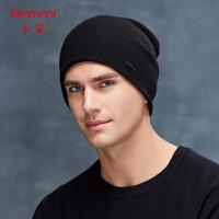 卡蒙黑色男士针织帽欧美冬天不扎头毛线帽柔软亲肤堆堆帽加厚保暖 9278