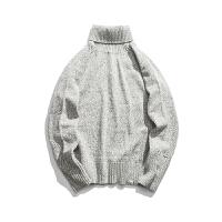 秋季高领毛衣男薄款纯色套头宽松长袖休闲打底衫针织衫外套