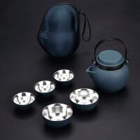 便携旅行茶具套装陶瓷鎏银纯银一壶5杯黑陶车载logo小新清整套功夫茶具泡茶器