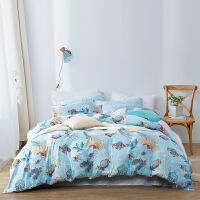 富安娜出品 四件套天丝床单被套床上用品4件套1.8m被罩