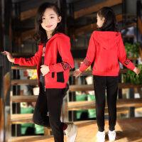 童装女童三件套春秋装2019新款女孩时髦洋气大童春装儿童运动套装 73058 大红