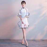 蕾丝旗袍改良年轻款现代名媛小香风少女性感修身白色短款